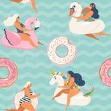 La piscina gonfiabile del fenicottero, dell'unicorno, del cigno e della ciambella dolce fa galleggiare il modello senza cuciture  royalty illustrazione gratis