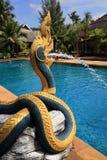 La piscina, plantas en el área del hotel, palma, Phra AE vara, Ko Lanta, Tailandia Foto de archivo libre de regalías