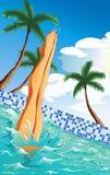 À la piscine Photos stock