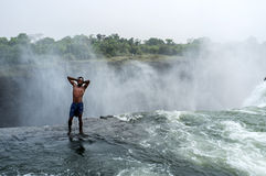 La piscine du diable chez Victoria Falls Photos libres de droits