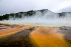 La piscine prismatique - oeil dans Yellowstone Photos stock
