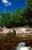 La piscine sur la branche de Taureau s'écoule au-dessus d'une petite cascade images stock
