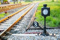 La pista de la barajadura de la máquina en ferrocarril Imágenes de archivo libres de regalías
