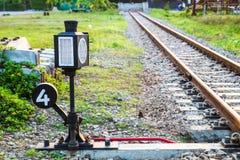 La pista de la barajadura de la máquina en ferrocarril Fotos de archivo libres de regalías