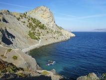 La pista di Golitsyn in alte montagne vicino a Mar Nero in Crimea Fotografia Stock