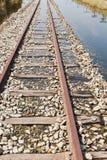 La pista ferroviaria inundada Fotografía de archivo libre de regalías