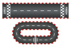 La pista que competía con, vista superior de las carreteras de asfalto fijó, raza del kart con comienzo y meta Vector ilustración del vector