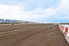 La piste dans l'aéroport du Gibraltar Images libres de droits