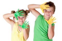 La pittura è divertimento per i bambini Fotografia Stock Libera da Diritti