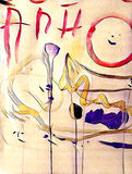 La pittura acrilica variopinta astratta con la spruzzata, scorre giù, gocciolamenti, sorriso ed iscrizione Immagini Stock Libere da Diritti