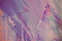 La pittura ad olio su tela è scritta dal mestichino Primo piano di una pittura dal petrolio e dal mestichino su tela immagini stock libere da diritti