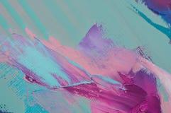 La pittura ad olio su tela ? scritta dal mestichino Primo piano di una pittura dal petrolio e dal mestichino su tela fotografia stock