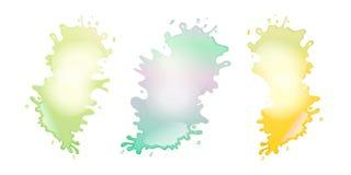 La pittura astratta di colore spruzza l'insieme isolato su bianco illustrazione di stock