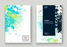 La pittura bianca blu al neon di esplosione schizza la progettazione artistica della copertura Fotografia Stock