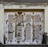 La pittura bianca estremamente scheggiata e tempo-consumata sugli otturatori di legno grungy chiusi nella costruzione dello stucc Fotografie Stock