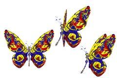 La pittura bianca gialla blu rossa ha fatto l'insieme della farfalla Immagini Stock