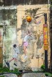 La pittura dei bambini che giocano pallacanestro a George Town, Pena Immagine Stock Libera da Diritti