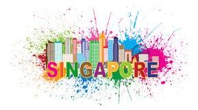 La pittura dell'orizzonte della città di Singapore schizza l'illustrazione di vettore Fotografia Stock