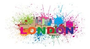La pittura dell'orizzonte di Londra schizza l'illustrazione di vettore del testo di colore Fotografia Stock Libera da Diritti