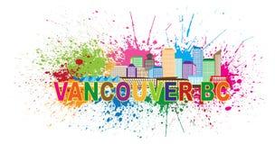 La pittura dell'orizzonte di Vancouver BC schizza l'illustrazione di vettore Fotografie Stock Libere da Diritti