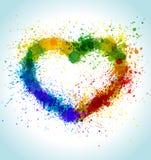 La pittura di colore spruzza il fondo del cuore royalty illustrazione gratis