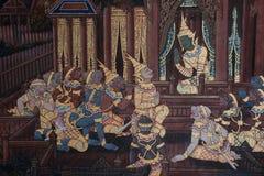 La pittura di ramayana in tempio pubblico in Tailandia Fotografia Stock Libera da Diritti