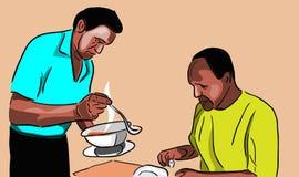 La pittura di vettore del cameriere del ristorante serve l'ospite Immagine Stock Libera da Diritti