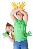 La pittura è divertimento per i bambini Fotografie Stock Libere da Diritti