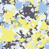 La pittura gialla dell'inchiostro di grey blu spruzza il modello senza cuciture illustrazione di stock