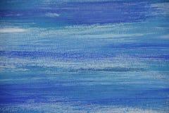 La pittura a olio astratta su tela, blu ha colorato il fondo Fotografie Stock Libere da Diritti