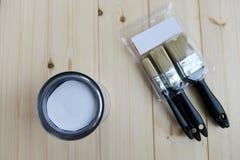 La pittura possono ed i pennelli Immagine Stock Libera da Diritti