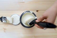 La pittura possono ed i pennelli Fotografie Stock