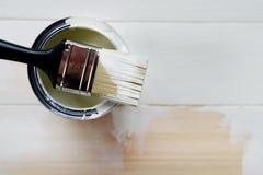 La pittura possono ed il pennello da sopra Immagini Stock Libere da Diritti