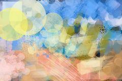 La pittura variopinta della spazzola del fondo astratto arrotonda, graffia Immagini Stock Libere da Diritti