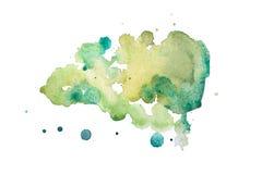 La pittura variopinta disegnata a mano di arte di forme dell'acquerello astratto dell'acquerello schizza la macchia su fondo bian fotografia stock libera da diritti