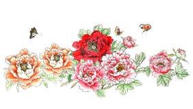 La pivoine peinte à la main décorative magnifique distinguée traditionnelle chinoise d'encre fleurit Image stock