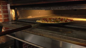 La pizza è disposta nel forno video d archivio