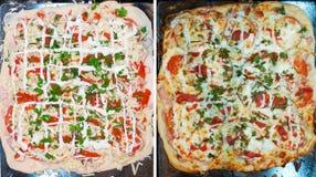 La pizza antes y después de cuece al horno Imagen de archivo libre de regalías