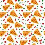 La pizza découpe le modèle en tranches avec des légumes Illustration de vecteur illustration stock