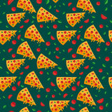 La pizza découpe le modèle en tranches avec des légumes Illustration de vecteur illustration de vecteur