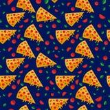 La pizza découpe le modèle en tranches de papier peint avec des légumes Vecteur illustration de vecteur