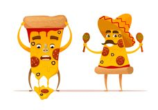 La pizza divertida corta caracteres Imagen de archivo libre de regalías