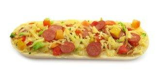 La pizza remató el emparedado del baguette del bruschetta Fotografía de archivo