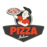 La pizza signent dedans le rétro style illustration de vecteur