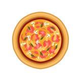 La pizza végétarienne avec la tomate, le champignon et le basilic, a fraîchement fait la pizza cuire au four, illustration de vec illustration libre de droits