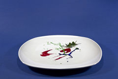 Placa blanca con el insead de la pintura de la comida Fotografía de archivo libre de regalías