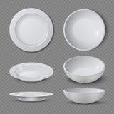 La placa de cerámica vacía blanca en diversos puntos de vista aisló el ejemplo del vector ilustración del vector
