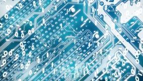 La placa de circuito con código binario representa funcionamientos eléctricos de las señales en tablero del textolite Es perfecto libre illustration