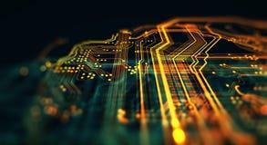 La placa de circuito impresa en el servicio ejecuta el código Fotografía de archivo libre de regalías