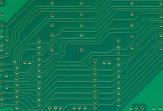 La placa de circuito impresa, los componentes electrónicos platea el primer macro, espacio horizontal detallado grande de la copi Fotografía de archivo